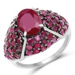 5.15 Carat Genuine Glass Filled Ruby & Ruby .925 Sterling Silver Ring