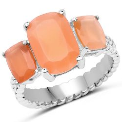 4.90 Carat Genuine Peach Moonstone .925 Sterling Silver Ring