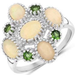 1.90 Carat Genuine Ethiopian Opal and Chrome Diopside .925 Sterling Silver Ring