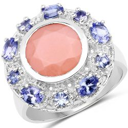 4.50 Carat Genuine Peach Moonstone and Tanzanite .925 Sterling Silver Ring