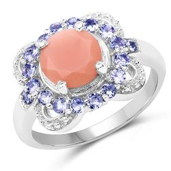 2.87 Carat Genuine Peach Moonstone and Tanzanite .925 Sterling Silver Ring
