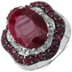 8.67 Carat Dyed Ruby & Ruby .925 Sterling Silver Ring