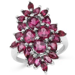 4.36 Carat Genuine Rhodolite .925 Sterling Silver Ring