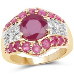 14K Yellow Gold Plated 4.10 Carat Genuine Glass Filled Ruby .925 Sterling Silver Ring