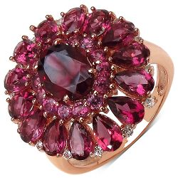 14K Rose Gold Plated 6.25 Carat Genuine Rhodolite & White Topaz .925 Sterling Silver Ring
