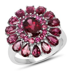 6.19 Carat Genuine Rhodolite and White Topaz .925 Sterling Silver Ring