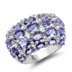7.29 Carat Genuine Tanzanite and White Topaz .925 Sterling Silver Ring