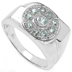 0.53 Carat Genuine Blue Topaz .925 Sterling Silver Ring