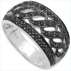 0.54 Carat Genuine Black Diamond .925 Sterling Silver Ring