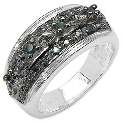 0.27 Carat Genuine Blue Diamond .925 Sterling Silver Ring