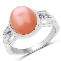 6.54 Carat Genuine Peach Moonstone and Tanzanite .925 Sterling Silver Ring