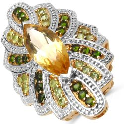 14K Yellow Gold Plated 5.20 Carat Genuine Citrine, Chrome Diopside & Peridot .925 Sterling Silver Ring