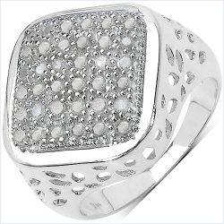 0.54 Carat Genuine White Diamond .925 Sterling Silver Ring