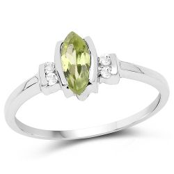 0.57 Carat Genuine Peridot and White Topaz .925 Sterling Silver Ring