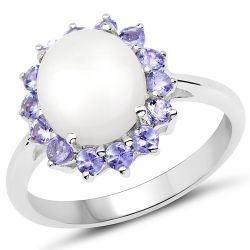 3.38 Carat Genuine Opal and Tanzanite .925 Sterling Silver Ring