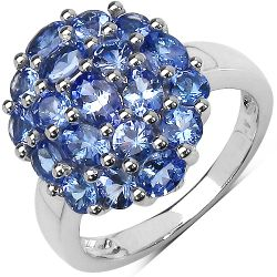 Two Tone Plated 2.54 Carat Genuine Tanzanite .925 Sterling Silver Ring