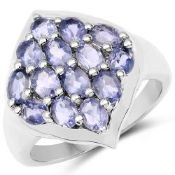 2.38 Carat Genuine Iolite .925 Sterling Silver Ring