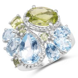 8.05 Carat Genuine Peridot & Blue Topaz .925 Sterling Silver Ring