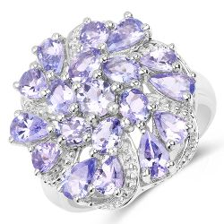 3.35 Carat Genuine Tanzanite .925 Sterling Silver Ring