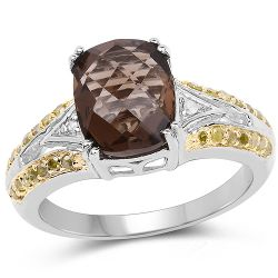 2.47 Carat Genuine Smoky Quartz, Yellow Diamond & White Diamond .925 Sterling Silver Ring