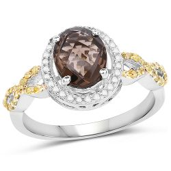 1.90 Carat Genuine Smoky Quartz, Yellow Diamond & White Diamond .925 Sterling Silver Ring