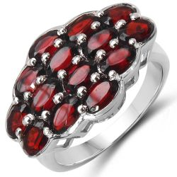 4.90 Carat Genuine Garnet .925 Sterling Silver Ring