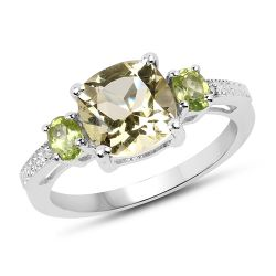 """2.15 Carat Genuine Lemon Quartz, Peridot & White Topaz .925 Sterling Silver Ring"""