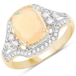 1.55 Carat Genuine Ethiopian Opal and White Zircon 10K Yellow Gold Ring