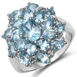 4.96 Carat Genuine Blue Topaz .925 Sterling Silver Ring