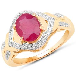 14K Yellow Gold Plated 2.51 Carat Glass Filled Ruby and White Topaz .925 Sterling Silver Ring
