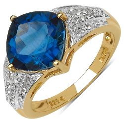 18K Yellow Gold Plated 3.83 Carat Genuine London Blue Topaz & White Topaz .925 Sterling Silver Ring