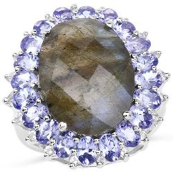 12.45 Carat Genuine Labradorite, Tanzanite & White Topaz .925 Sterling Silver Ring