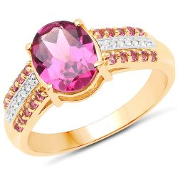 14K Yellow Gold Plated 3.32 Carat Genuine Rhodolite and White Topaz .925 Sterling Silver Ring