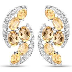 6.72 Carat Genuine Citrine and White Topaz .925 Sterling Silver Earrings