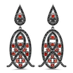7.63 Carat Genuine Garnet and Black Spinel .925 Sterling Silver Earrings
