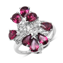 4.60 Carat Genuine Rhodolite & White Topaz .925 Sterling Silver Ring