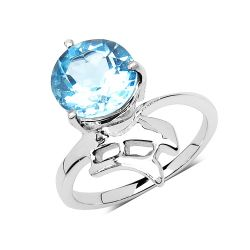 3.10 Carat Genuine Blue Topaz .925 Sterling Silver Ring