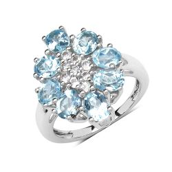 3.55 Carat Genuine Blue Topaz & White Topaz .925 Sterling Silver Floral Shape Ring