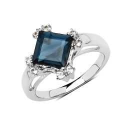 1.99 Carat Genuine London Blue Topaz & White Topaz .925 Sterling Silver Ring