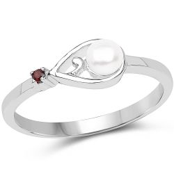 0.48 Carat Genuine Pearl and Garnet .925 Sterling Silver Ring