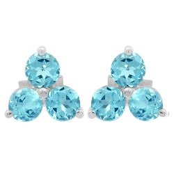 Sterling Silver Stud Earring With Rhodium Plating And Blue Topaz Stones