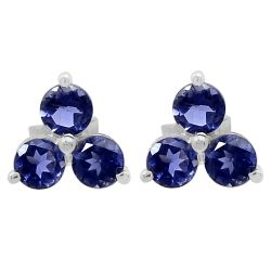 Well-Crafted Sterling Silver Earring With Rhodium Plating And Iolite Stones