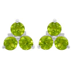 Rhodium Plated Sterling Silver Earring Crafted With Polished Peridot Stones