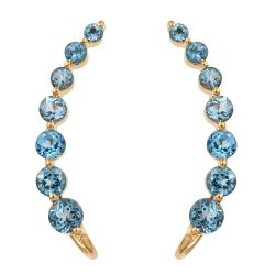 Swiss Blue Topaz Stud Earrings Plated With Yellow Gold Rhodium In Sterling Silver