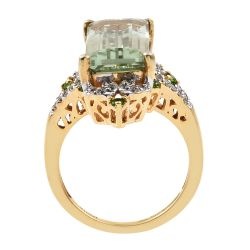 Rectangular Russian Diaopside Ring With Natural White Zircon And Green Amethyst Accents Set In Yellow Gold Rhodium