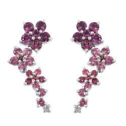Fine Looking Rhodium Plated Sterling Silver Earring With White Topaz, Rhodolite Garnet, Pink Tourmaline, Rose Spinel Stones.