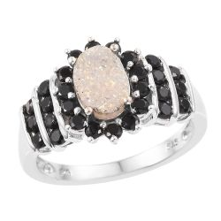 Rhodium Plated Sterling Silver Ring With Alluring Pearl Shimmer Drusy Quartz, And  Black Spinel