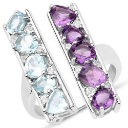 Exquisite Sterling Silver Ring With Rhodium Plating And African Amethyst, African Amethyst Cushion, African Amethyst Trillion, Blue Topaz, Blue Topaz Cushion, Blue Topaz Trillion, White Topaz Gemstones.