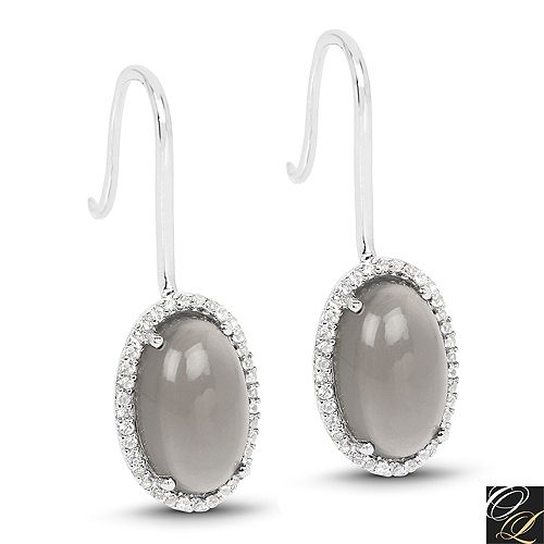 6.17 Carat Genuine Grey Moonstone And White Topaz .925 Sterling Silver Earrings