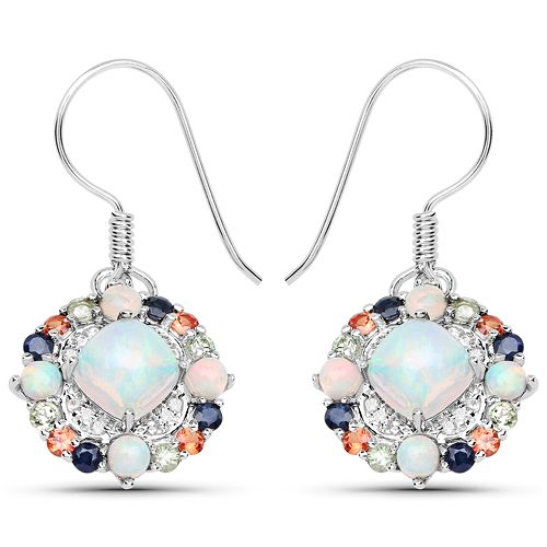 4.73 Carat Genuine Multi Stone .925 Sterling Silver Earrings